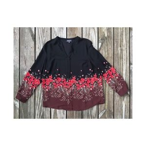 The Limited career blouse top fall floral sheer L